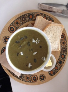 Broccoli, spinach, walnut and goats cheese soup