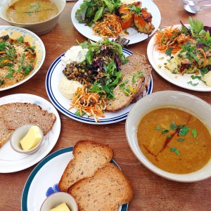 Food at Portager Gardens - frittatas, lentil & sweet potato soup, and a mezze plate.